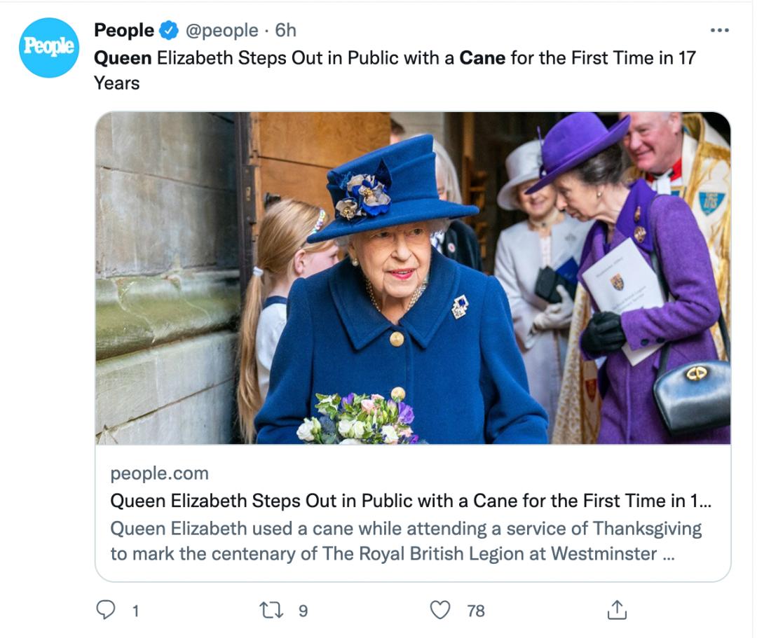 英女王首次在重大公共活动中使用拐杖!网友评论亮了...
